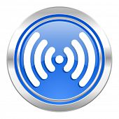 wifi icon, blue button, wireless network sign