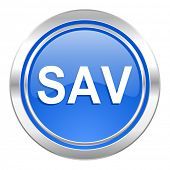sav icon, blue button