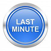 last minute icon, blue button