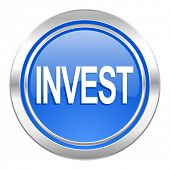 invest icon, blue button