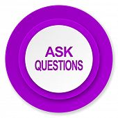 ask questions icon, violet button