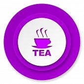 tea icon, violet button, hot cup of tea sign