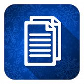 document flat icon, christmas button, pages sign
