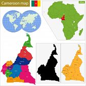 Cameroon map with high detail and accuracy and it is divided into provinces which are colored with different bright colors