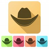 stock photo of cowboys  - Set Flat icons of Black cowboy hat traditional symbol - JPG