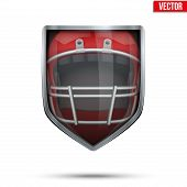 Bright shield in the american football helmet inside. Vector.