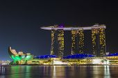 Marina Bay Sands Hotel And Artscience Museum In The Night Light