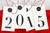 New year 2015 on tags on santas fur