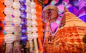 Colorful Hanging Paper Lantern And Golden Pagoda In Festival Of Thailand