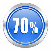 70 percent icon, blue button, sale sign