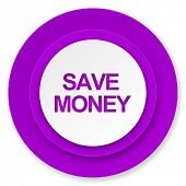save money icon, violet button