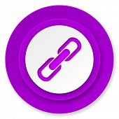 link icon, violet button, chain sign