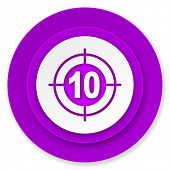 target icon, violet button