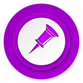 pin icon, violet button