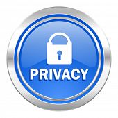 privacy icon, blue button