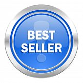 best seller icon, blue button