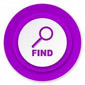 find icon, violet button