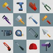 pic of sawing  - Repair and construction tools flat icons set with hammer saw screwdriver isolated vector illustration - JPG