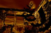 Happy Halloween. Bats are flying over the old ruin. Dramatic toned