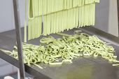 Processed green spaghetti pasta on machine tray at commercial kitchen