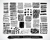 stock photo of freehand drawing  - Set Creative Freehand Isolated Textures - JPG