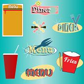 Retro Style Menu And Diner Vector Set