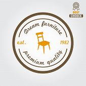 Vintage logo, badge,emblem or logotype for furniture shop poster
