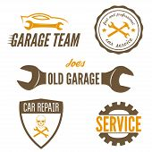 picture of garage  - Set of logo and logotype element for mechanic - JPG