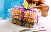 image of crispy rice  - Puffed rice crispy bars wrapped as edible gift - JPG