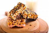 picture of crispy rice  - Puffed rice crispy bars with chocolate glaze - JPG