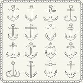 image of anchor  - Silhouettes of hand drawn anchors - JPG