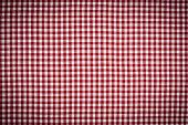 Red And White Gingham Checkered Tablecloth Background With Vignette