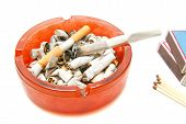 picture of butts  - matches butts and cigarette closeup on white - JPG