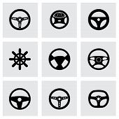 pic of steers  - Vector steering wheels icon set on grey background - JPG