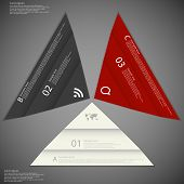 stock photo of significant  - Illustration infographic consists of three paper triangles with different colors and significant folding placed on dark background with space for text - JPG