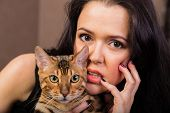 picture of bengal cat  - Beautiful woman with cat portrait - JPG