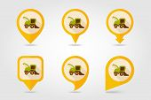 stock photo of combine  - Combine harvester flat mapping pin icon with long shadow eps 10 - JPG
