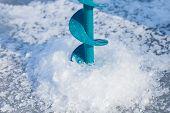 stock photo of ice fishing  - Close - JPG