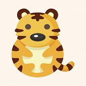 image of cute tiger  - animal tiger cartoon theme elements - JPG