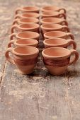 stock photo of molding clay  - Beautiful clay cups - JPG