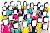 image of gathering  - Social Gathering Digital Tablet Communication Society Concept - JPG