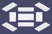 picture of isometric  - Isometric generic white computer keyboard with blank keys - JPG