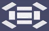 foto of keyboard keys  - Isometric generic white computer keyboard with blank keys - JPG