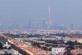 pic of dubai  - Skyline of Dubai illuminated at night United Arab Emirates - JPG