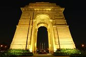 picture of india gate  - India Gate with lights at night New Delhi India - JPG