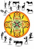 pic of hunters  - silhouette cave picture abstract hunters and wild animals and round sun pattern middle - JPG