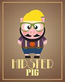 image of pig  - Funny hipster pig background card  - JPG