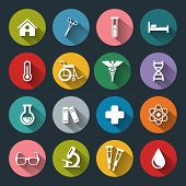 picture of medical  - Set of vector Medical Icons in flat style with long shadows - JPG