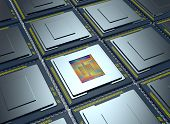 stock photo of cpu  - top up view of an array of CPUs one cpu is without the cover and the circuits are visible  - JPG