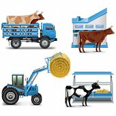 picture of truck farm  - Agricultural Icons Set including farm tractor - JPG